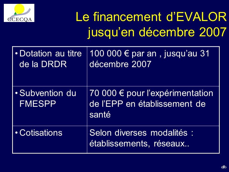 41 Le financement dEVALOR jusquen décembre 2007 Dotation au titre de la DRDR 100 000 par an, jusquau 31 décembre 2007 Subvention du FMESPP 70 000 pour