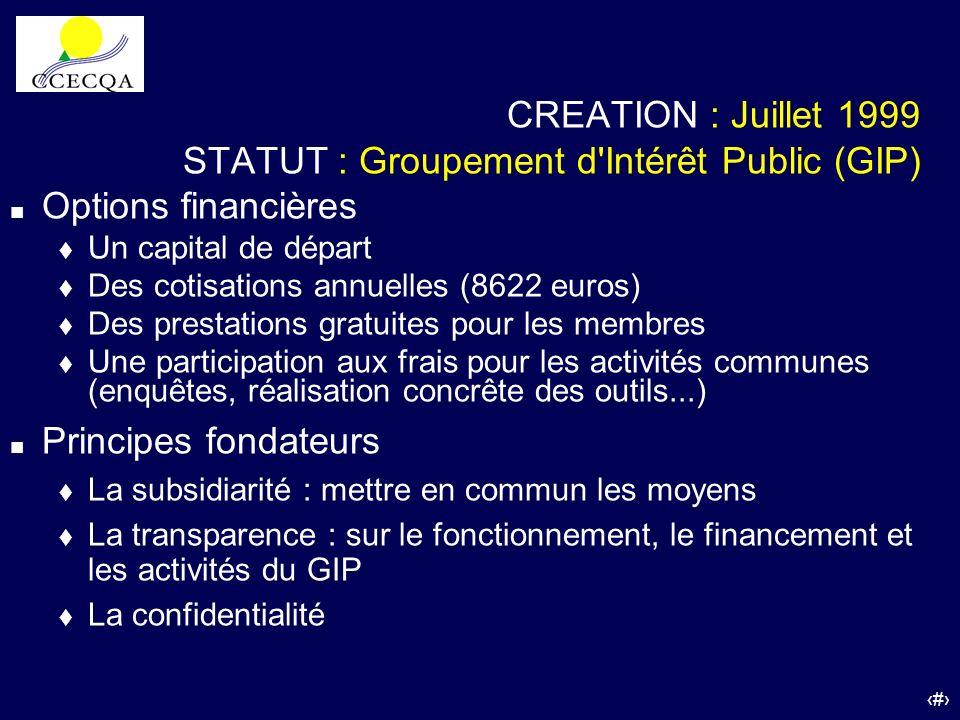 47 CREATION : Juillet 1999 STATUT : Groupement d'Intérêt Public (GIP) Options financières Un capital de départ Des cotisations annuelles (8622 euros)