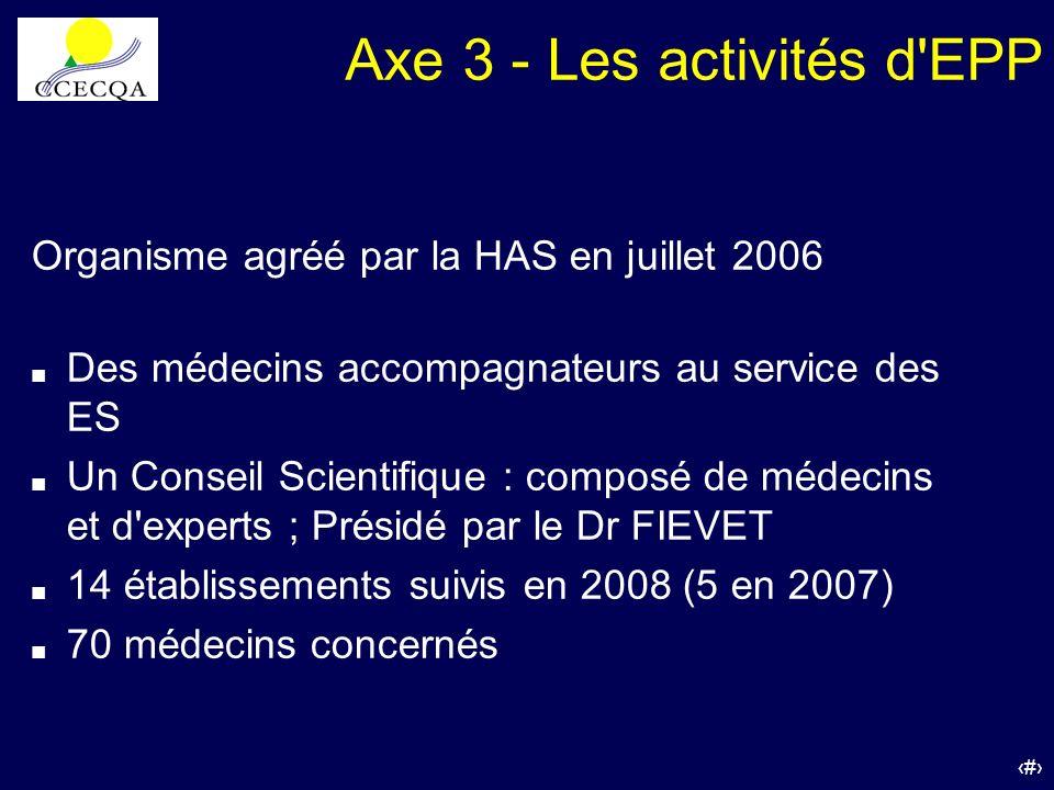 52 Organisme agréé par la HAS en juillet 2006 Des médecins accompagnateurs au service des ES Un Conseil Scientifique : composé de médecins et d'expert