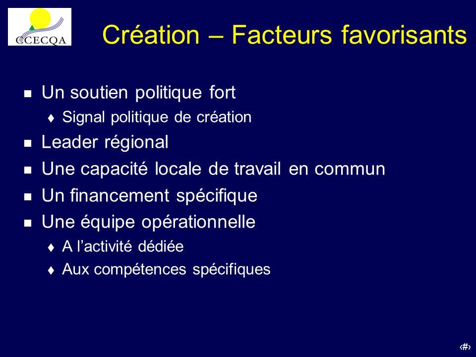 54 Création – Facteurs favorisants n Un soutien politique fort t Signal politique de création n Leader régional n Une capacité locale de travail en co