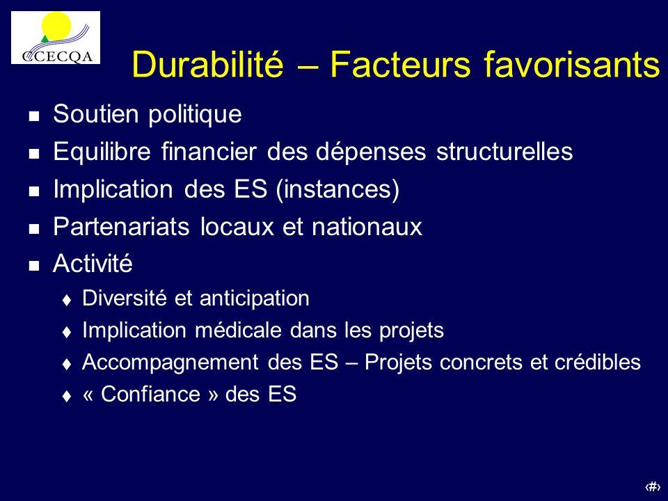 55 Durabilité – Facteurs favorisants n Soutien politique n Equilibre financier des dépenses structurelles n Implication des ES (instances) n Partenari