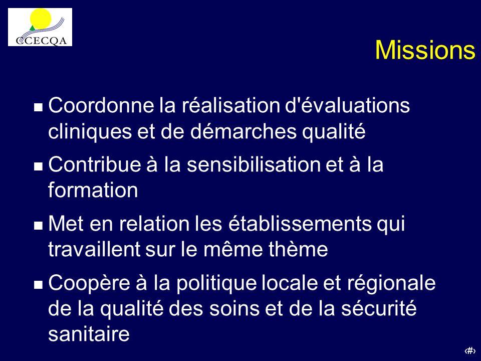 6 Missions n Coordonne la réalisation d'évaluations cliniques et de démarches qualité n Contribue à la sensibilisation et à la formation n Met en rela