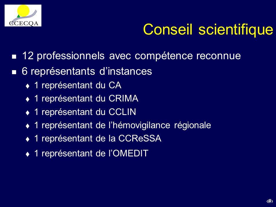 8 Conseil scientifique n 12 professionnels avec compétence reconnue n 6 représentants dinstances t 1 représentant du CA t 1 représentant du CRIMA t 1
