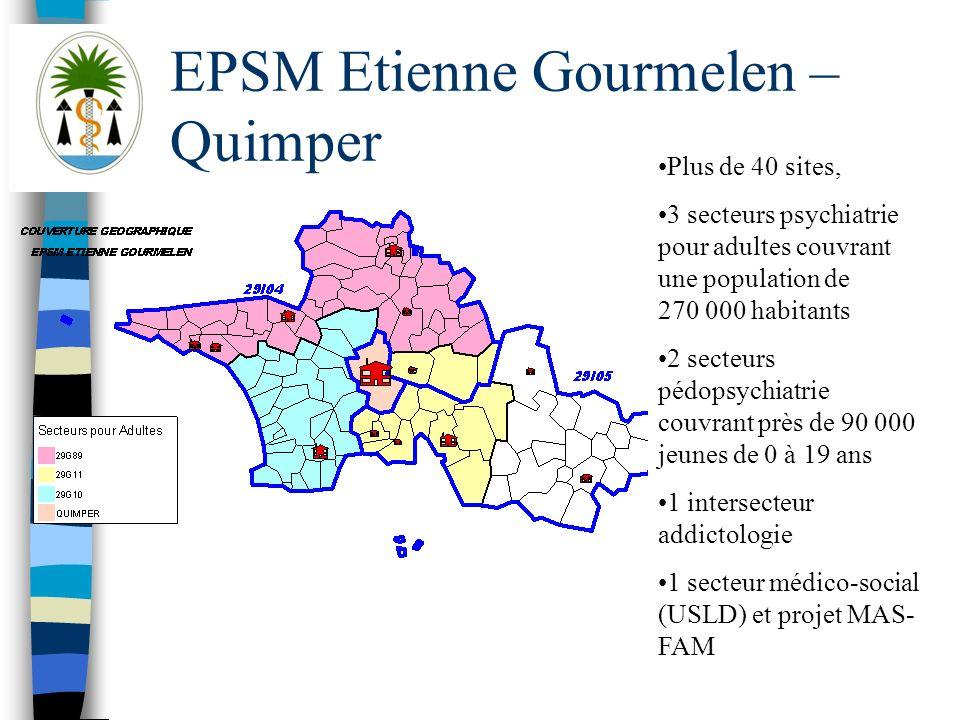 EPSM Etienne Gourmelen – Quimper Plus de 40 sites, 3 secteurs psychiatrie pour adultes couvrant une population de 270 000 habitants 2 secteurs pédopsy