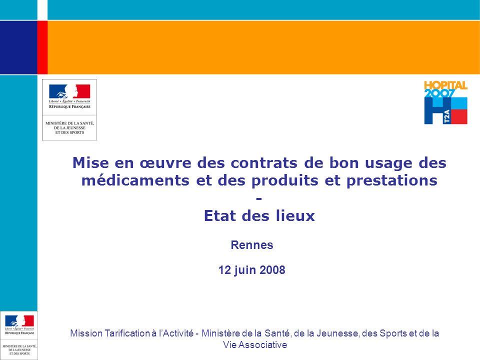 Mise en œuvre des contrats de bon usage des médicaments et des produits et prestations - Etat des lieux Rennes 12 juin 2008 Mission Tarification à lAc