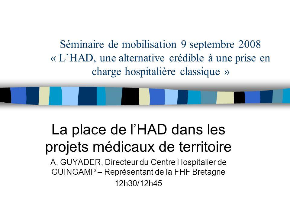 Séminaire de mobilisation 9 septembre 2008 « LHAD, une alternative crédible à une prise en charge hospitalière classique » La place de lHAD dans les projets médicaux de territoire A.