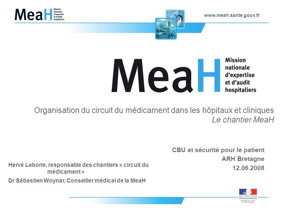 www.meah.sante.gouv.fr Organisation du circuit du médicament dans les hôpitaux et cliniques Le chantier MeaH CBU et sécurité pour le patient ARH Breta