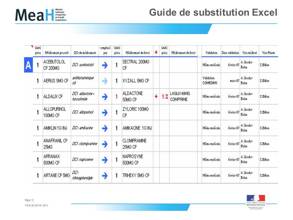 mardi 28 janvier 2014 Page 10 Guide de substitution Excel