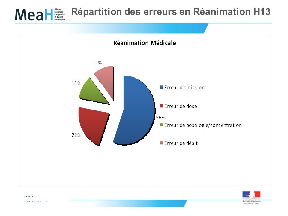 mardi 28 janvier 2014 Page 19 Répartition des erreurs en Réanimation H13