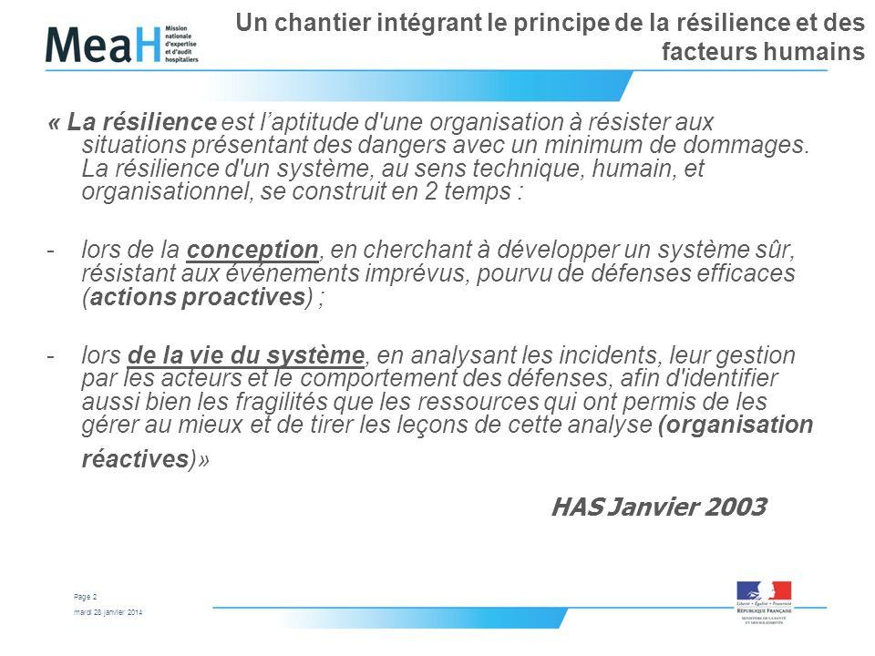 mardi 28 janvier 2014 Page 2 Un chantier intégrant le principe de la résilience et des facteurs humains « La résilience est laptitude d'une organisati