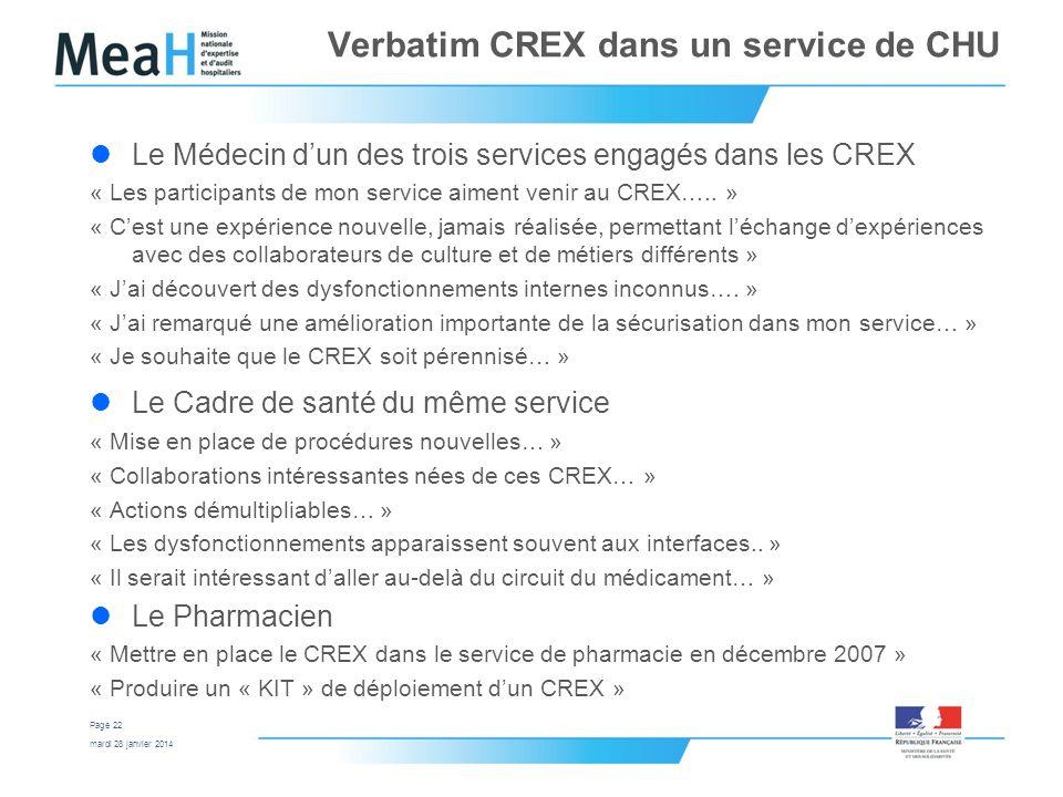 mardi 28 janvier 2014 Page 22 Verbatim CREX dans un service de CHU Le Médecin dun des trois services engagés dans les CREX « Les participants de mon s