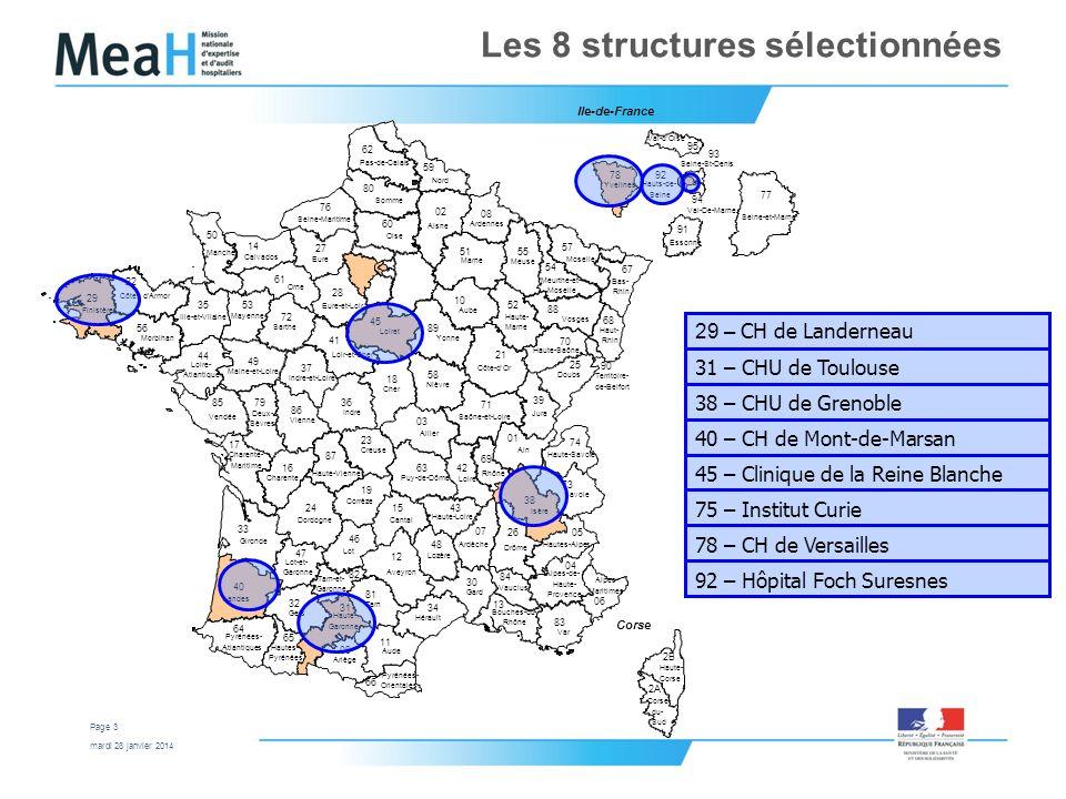 mardi 28 janvier 2014 Page 3 Les 8 structures sélectionnées 29 – CH de Landerneau 31 – CHU de Toulouse 38 – CHU de Grenoble 40 – CH de Mont-de-Marsan