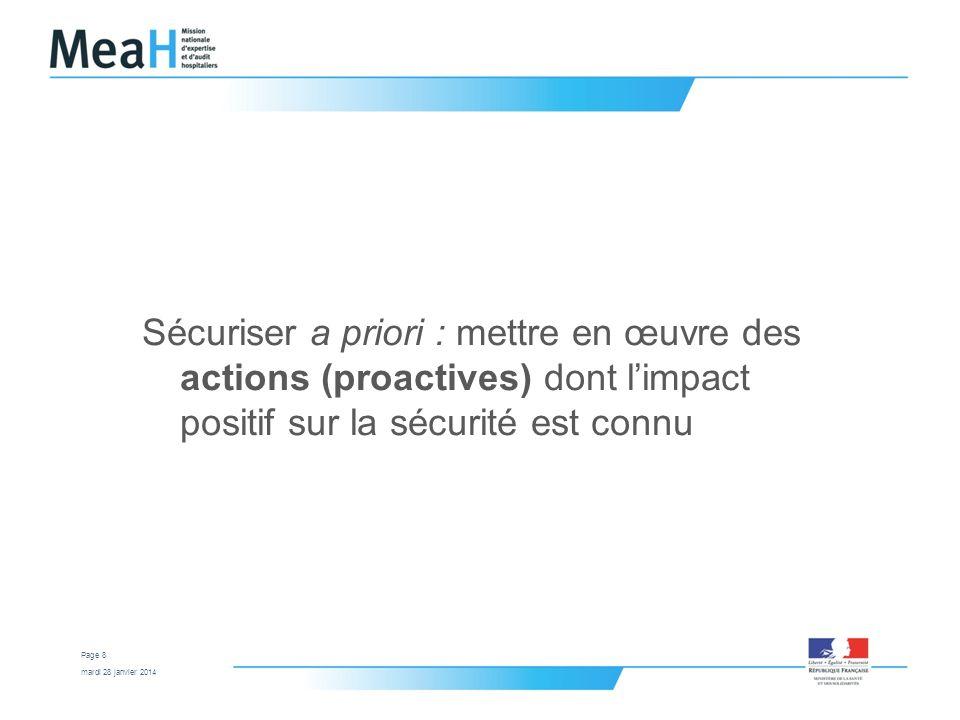 mardi 28 janvier 2014 Page 8 Sécuriser a priori : mettre en œuvre des actions (proactives) dont limpact positif sur la sécurité est connu