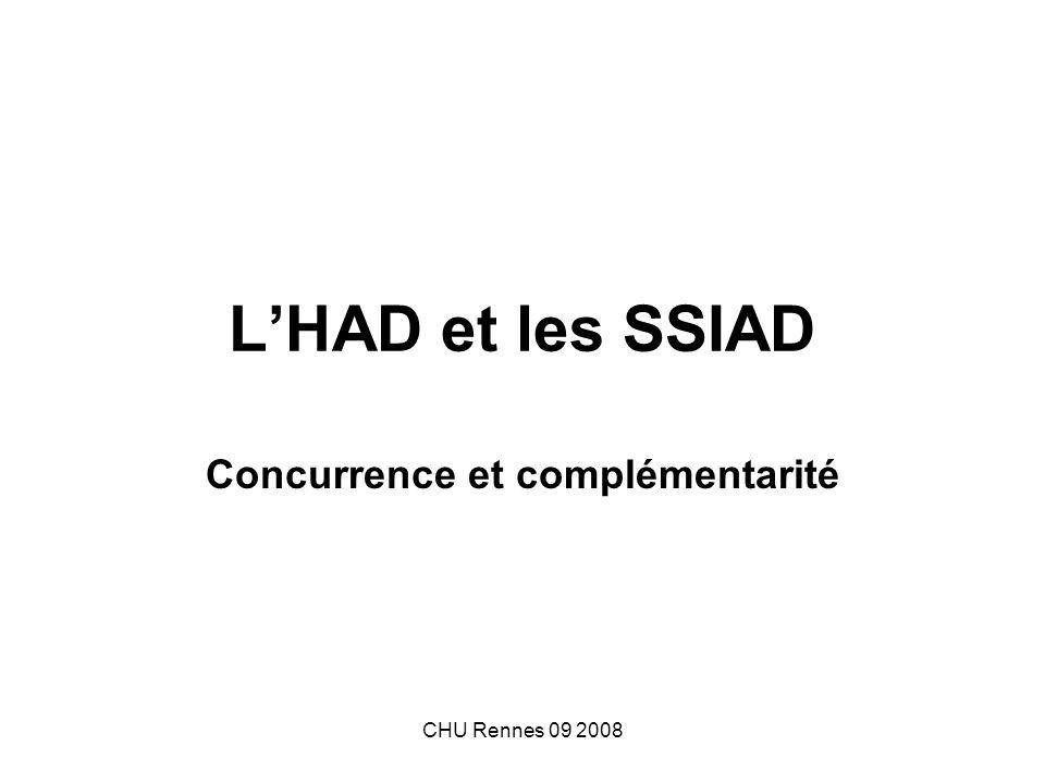Peut-il y avoir concurrence entre SSIAD et HAD .Rappel des champs de compétences de chacun.