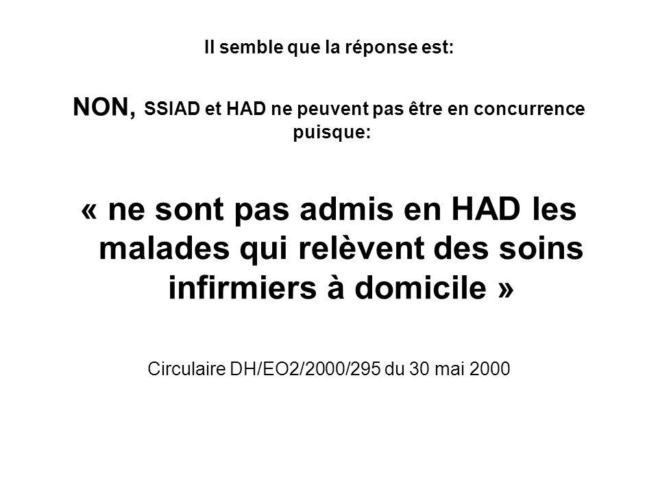 Il semble que la réponse est: NON, SSIAD et HAD ne peuvent pas être en concurrence puisque: « ne sont pas admis en HAD les malades qui relèvent des so