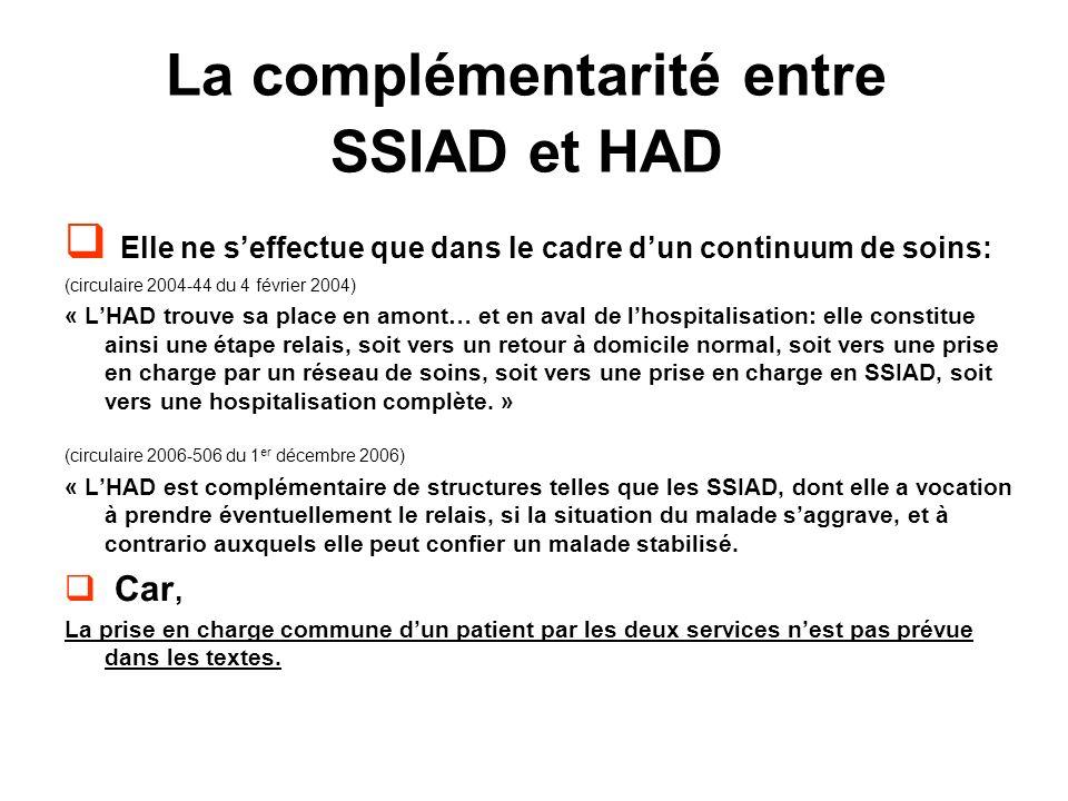 La complémentarité entre SSIAD et HAD Elle ne seffectue que dans le cadre dun continuum de soins: (circulaire 2004-44 du 4 février 2004) « LHAD trouve