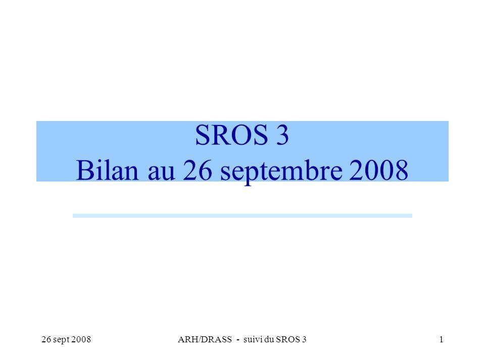26 sept 2008ARH/DRASS - suivi du SROS 31 SROS 3 Bilan au 26 septembre 2008