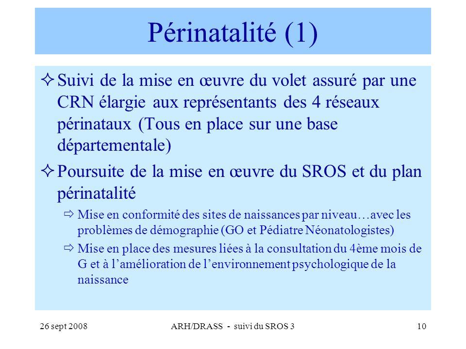 26 sept 2008ARH/DRASS - suivi du SROS 310 Périnatalité (1) Suivi de la mise en œuvre du volet assuré par une CRN élargie aux représentants des 4 résea