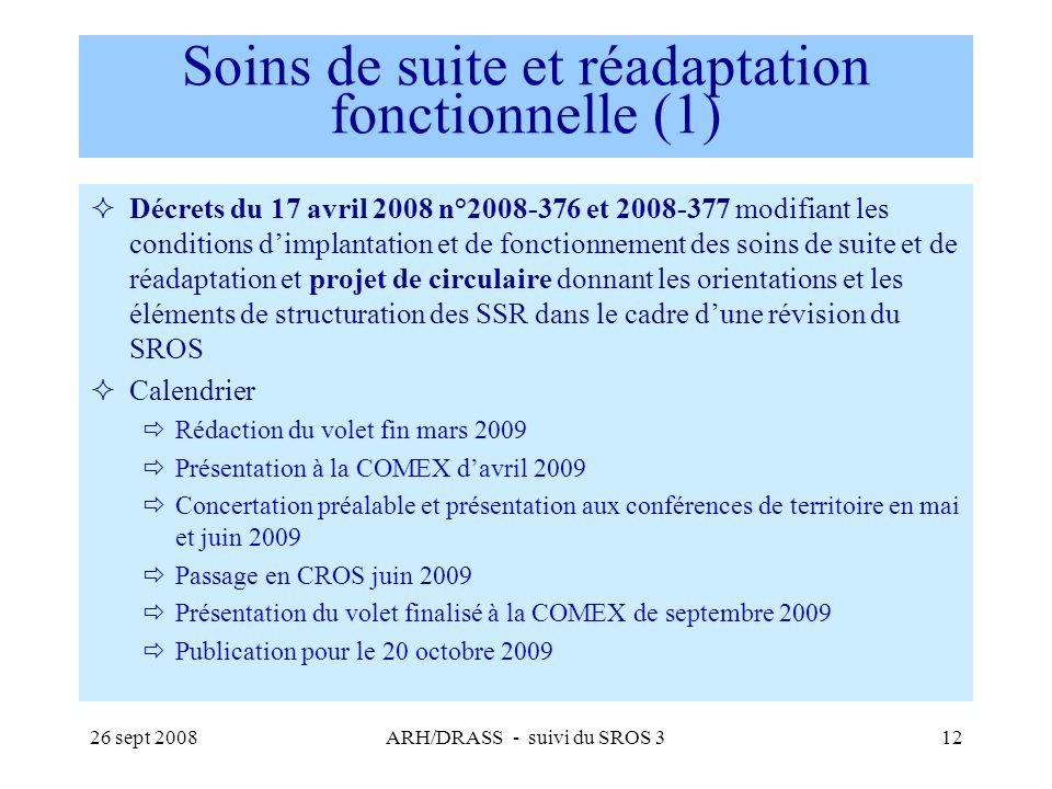 26 sept 2008ARH/DRASS - suivi du SROS 312 Soins de suite et réadaptation fonctionnelle (1) Décrets du 17 avril 2008 n°2008-376 et 2008-377 modifiant l