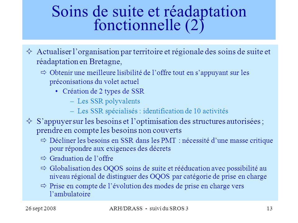 26 sept 2008ARH/DRASS - suivi du SROS 313 Soins de suite et réadaptation fonctionnelle (2) Actualiser lorganisation par territoire et régionale des so