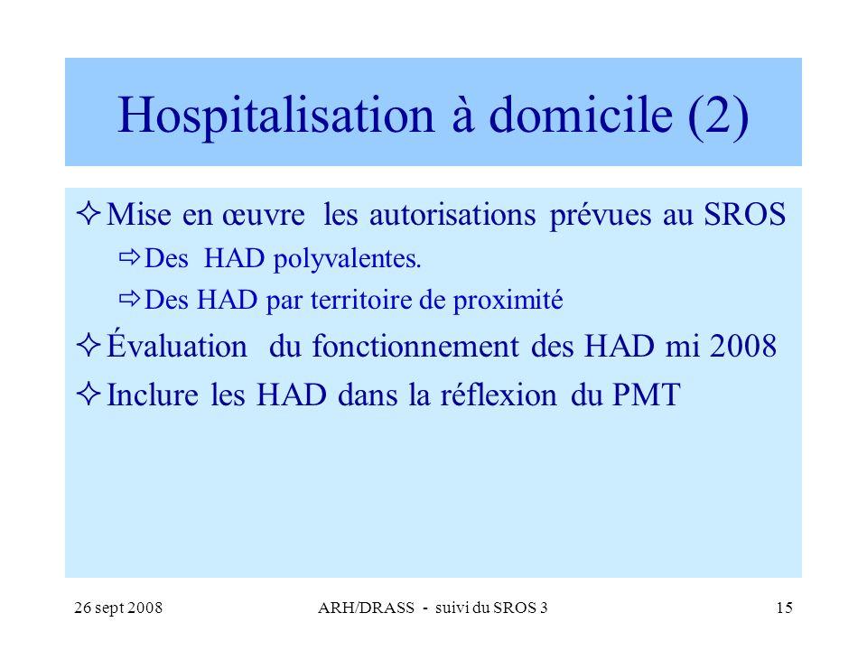 26 sept 2008ARH/DRASS - suivi du SROS 315 Hospitalisation à domicile (2) Mise en œuvre les autorisations prévues au SROS Des HAD polyvalentes. Des HAD