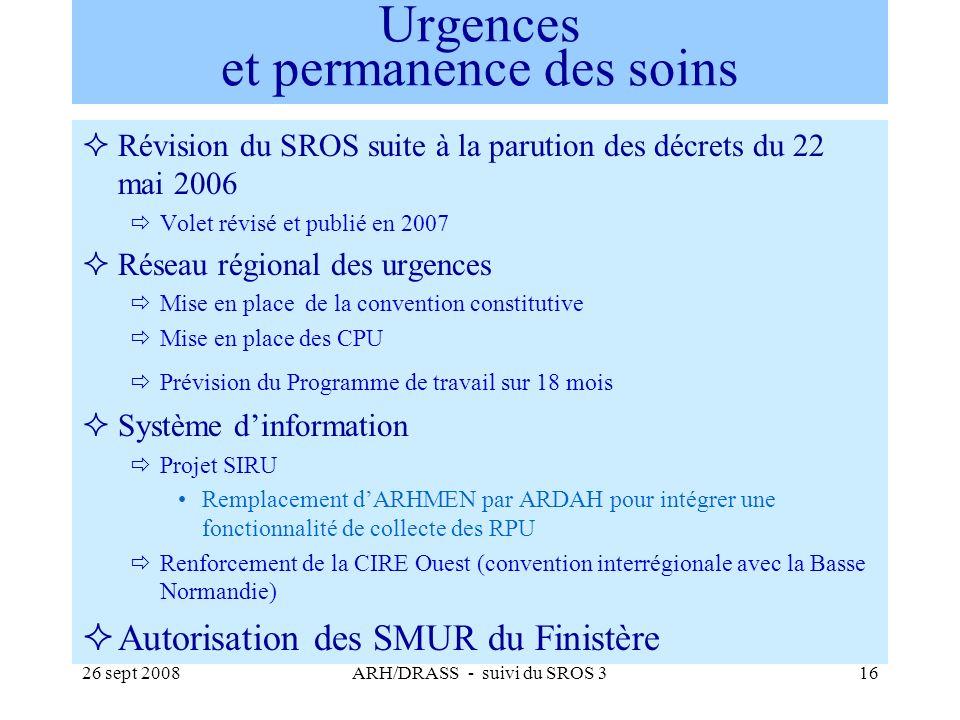 26 sept 2008ARH/DRASS - suivi du SROS 316 Urgences et permanence des soins Révision du SROS suite à la parution des décrets du 22 mai 2006 Volet révis