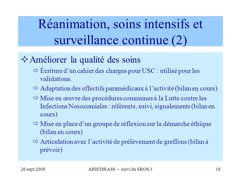 26 sept 2008ARH/DRASS - suivi du SROS 318 Réanimation, soins intensifs et surveillance continue (2) Améliorer la qualité des soins Écriture dun cahier