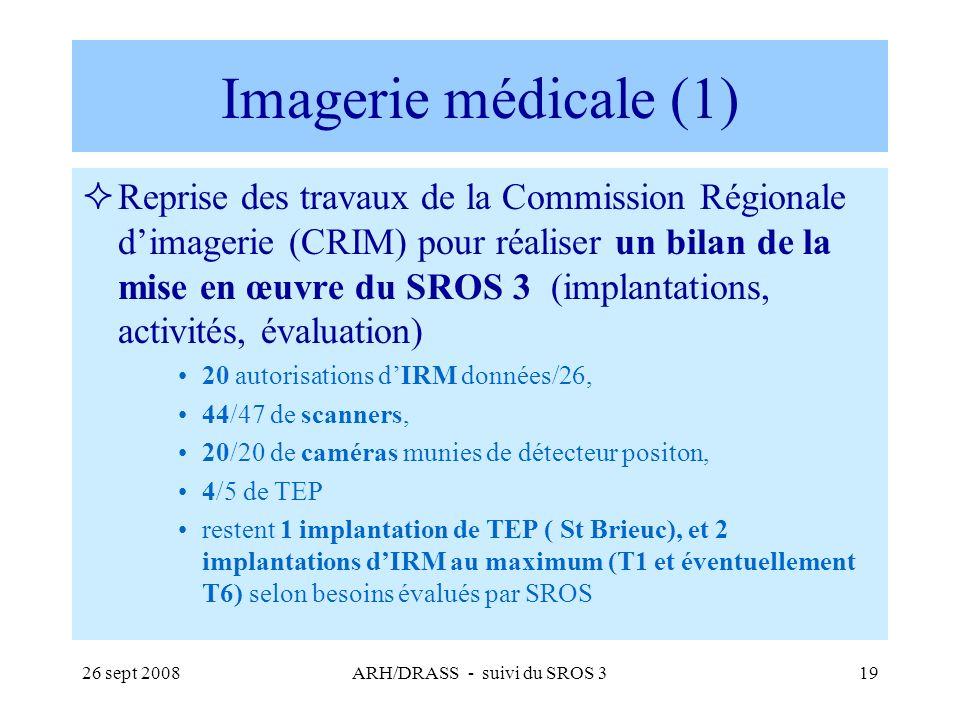 26 sept 2008ARH/DRASS - suivi du SROS 319 Imagerie médicale (1) Reprise des travaux de la Commission Régionale dimagerie (CRIM) pour réaliser un bilan