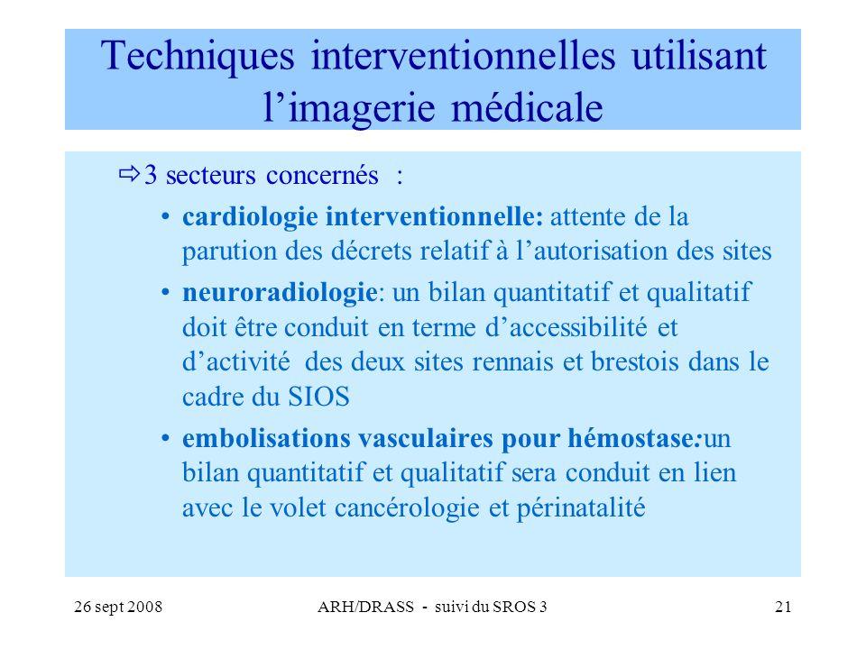 26 sept 2008ARH/DRASS - suivi du SROS 321 Techniques interventionnelles utilisant limagerie médicale 3 secteurs concernés : cardiologie interventionne