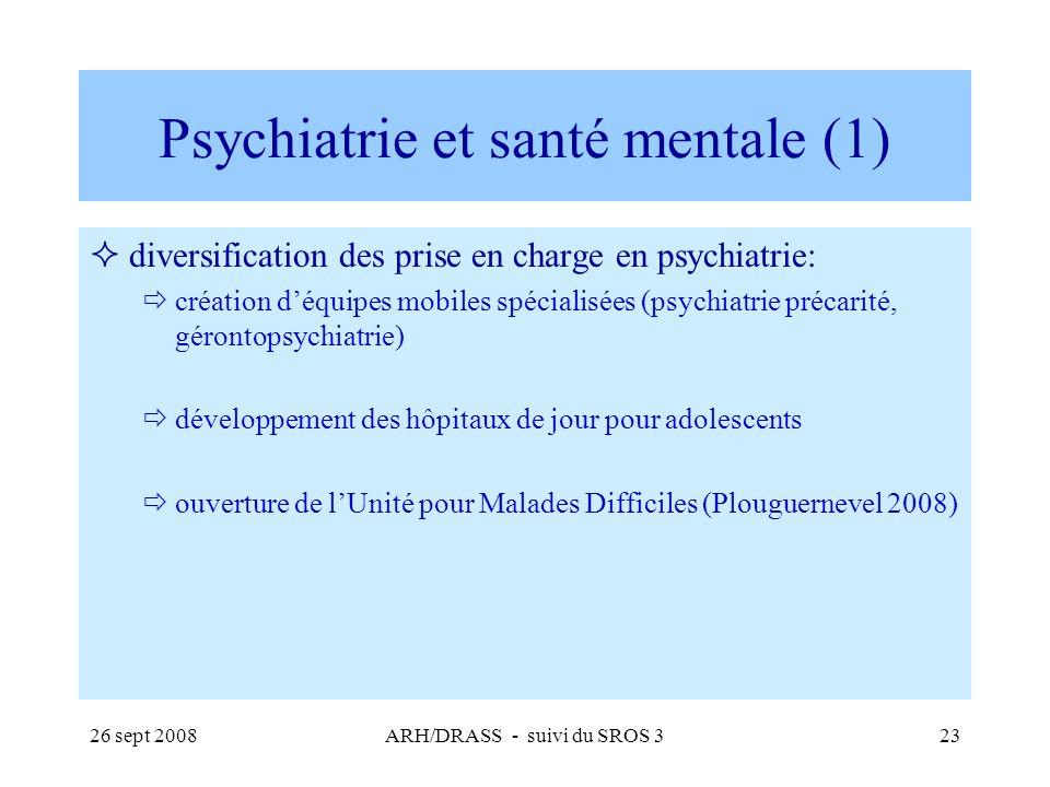 26 sept 2008ARH/DRASS - suivi du SROS 323 Psychiatrie et santé mentale (1) diversification des prise en charge en psychiatrie: création déquipes mobil
