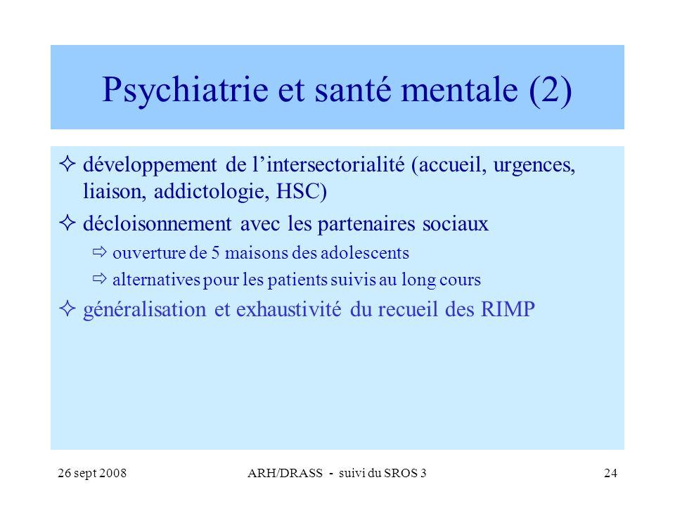 26 sept 2008ARH/DRASS - suivi du SROS 324 Psychiatrie et santé mentale (2) développement de lintersectorialité (accueil, urgences, liaison, addictolog