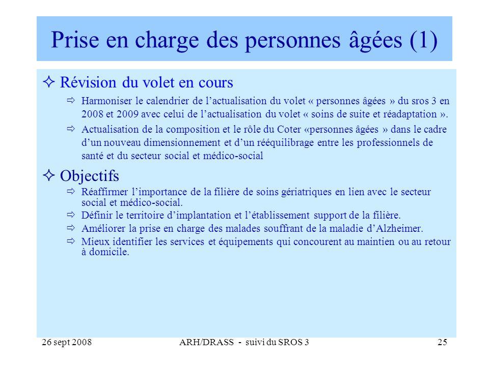 26 sept 2008ARH/DRASS - suivi du SROS 325 Prise en charge des personnes âgées (1) Révision du volet en cours Harmoniser le calendrier de lactualisatio