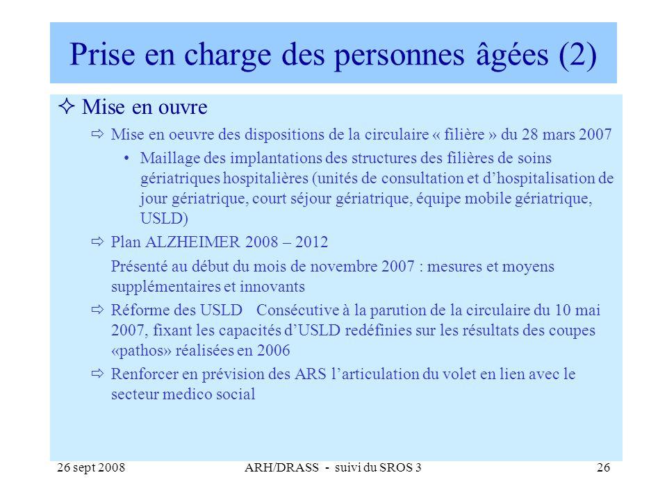 26 sept 2008ARH/DRASS - suivi du SROS 326 Prise en charge des personnes âgées (2) Mise en ouvre Mise en oeuvre des dispositions de la circulaire « fil