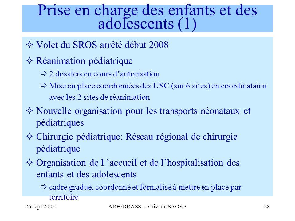 26 sept 2008ARH/DRASS - suivi du SROS 328 Prise en charge des enfants et des adolescents (1) Volet du SROS arrêté début 2008 Réanimation pédiatrique 2