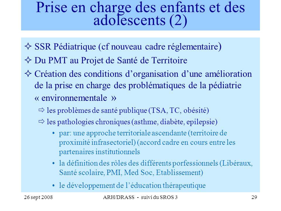 26 sept 2008ARH/DRASS - suivi du SROS 329 Prise en charge des enfants et des adolescents (2) SSR Pédiatrique (cf nouveau cadre réglementaire ) Du PMT