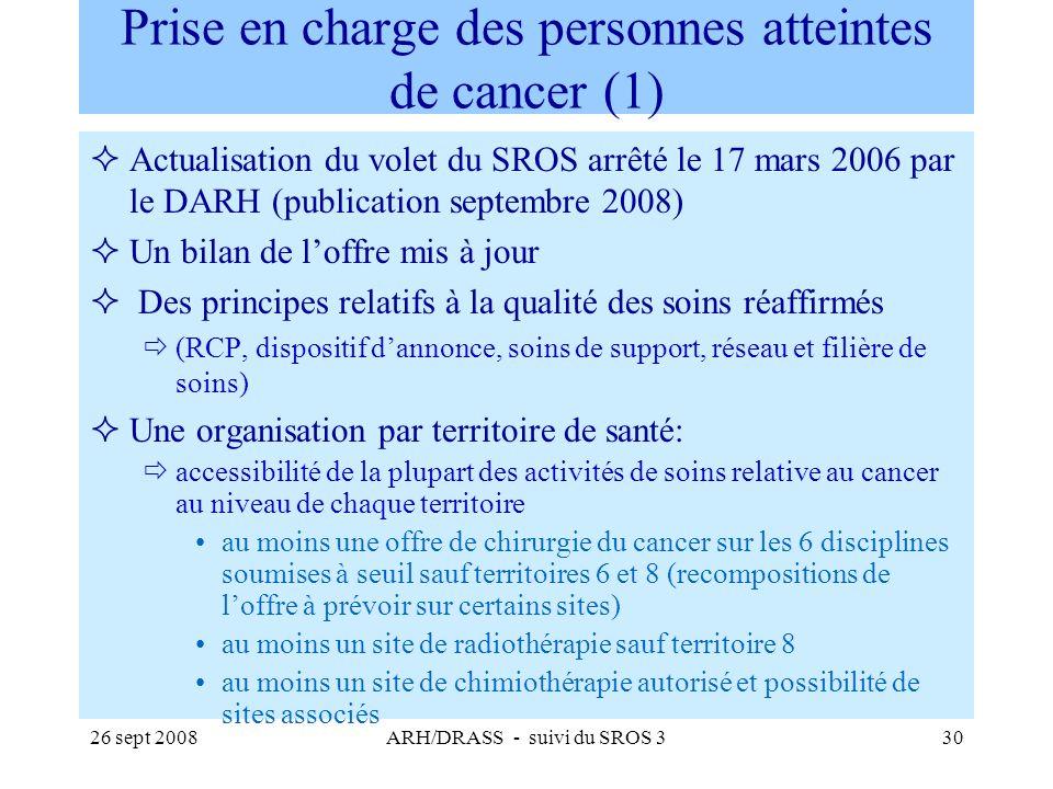 26 sept 2008ARH/DRASS - suivi du SROS 330 Prise en charge des personnes atteintes de cancer (1) Actualisation du volet du SROS arrêté le 17 mars 2006