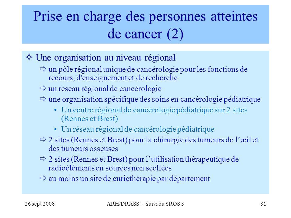 26 sept 2008ARH/DRASS - suivi du SROS 331 Prise en charge des personnes atteintes de cancer (2) Une organisation au niveau régional un pôle régional u