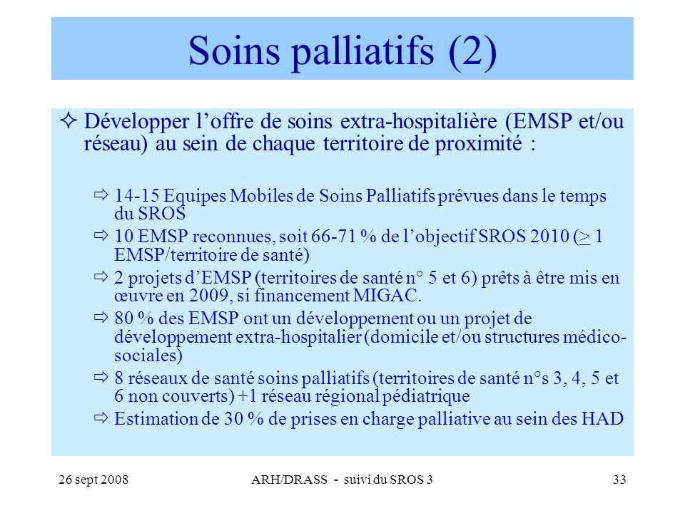 26 sept 2008ARH/DRASS - suivi du SROS 333 Soins palliatifs (2) Développer loffre de soins extra-hospitalière (EMSP et/ou réseau) au sein de chaque ter