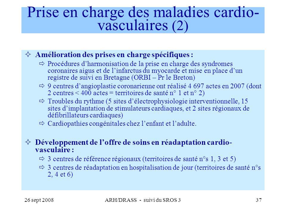 26 sept 2008ARH/DRASS - suivi du SROS 337 Prise en charge des maladies cardio- vasculaires (2) Amélioration des prises en charge spécifiques : Procédu