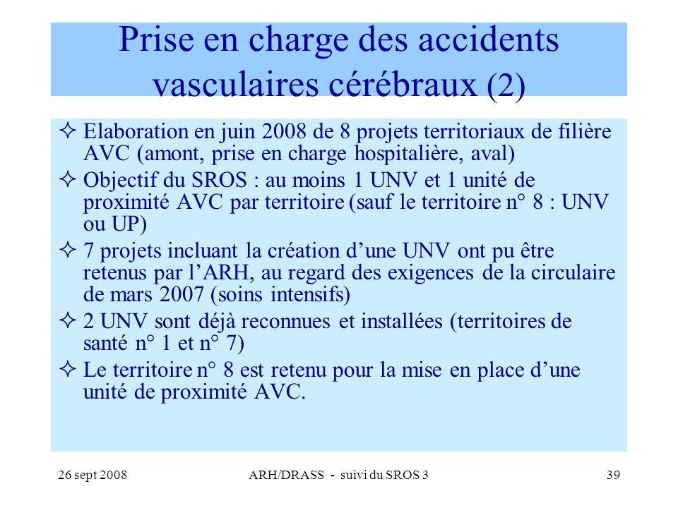 26 sept 2008ARH/DRASS - suivi du SROS 339 Prise en charge des accidents vasculaires cérébraux (2) Elaboration en juin 2008 de 8 projets territoriaux d