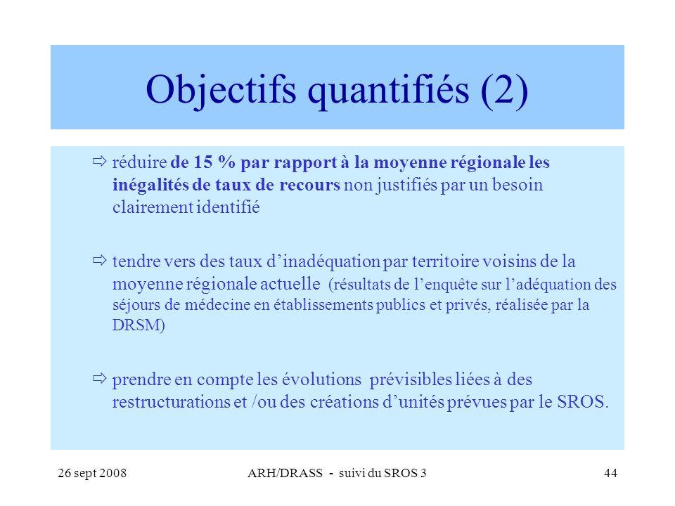 26 sept 2008ARH/DRASS - suivi du SROS 344 Objectifs quantifiés (2) réduire de 15 % par rapport à la moyenne régionale les inégalités de taux de recour