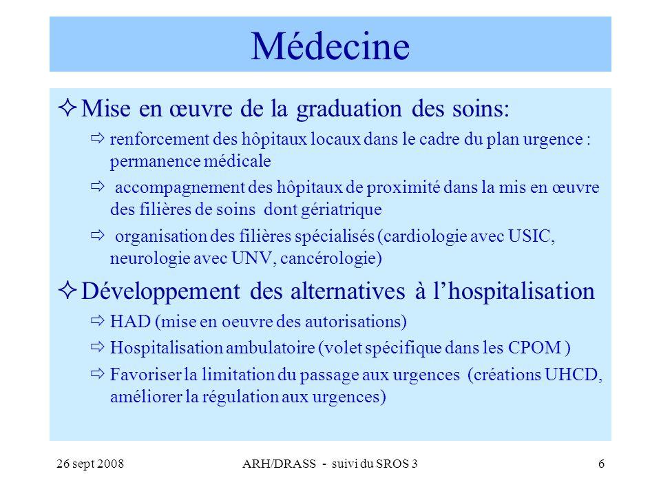 26 sept 2008ARH/DRASS - suivi du SROS 337 Prise en charge des maladies cardio- vasculaires (2) Amélioration des prises en charge spécifiques : Procédures dharmonisation de la prise en charge des syndromes coronaires aigus et de linfarctus du myocarde et mise en place dun registre de suivi en Bretagne (ORBI – Pr le Breton) 9 centres dangioplastie coronarienne ont réalisé 4 697 actes en 2007 (dont 2 centres < 400 actes = territoires de santé n° 1 et n° 2) Troubles du rythme (5 sites délectrophysiologie interventionnelle, 15 sites dimplantation de stimulateurs cardiaques, et 2 sites régionaux de défibrillateurs cardiaques) Cardiopathies congénitales chez lenfant et ladulte.