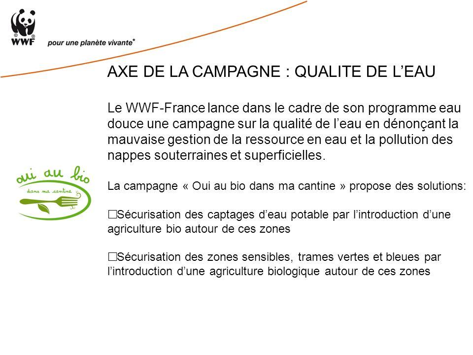 AXE DE LA CAMPAGNE : QUALITE DE LEAU Le WWF-France lance dans le cadre de son programme eau douce une campagne sur la qualité de leau en dénonçant la mauvaise gestion de la ressource en eau et la pollution des nappes souterraines et superficielles.