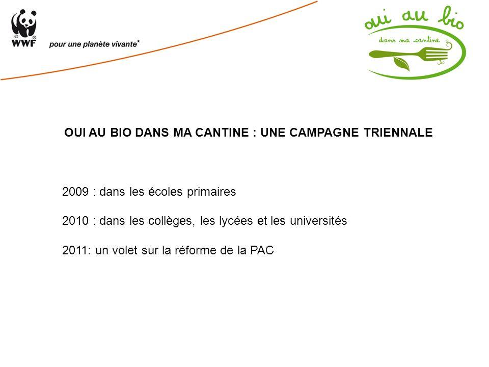 OUI AU BIO DANS MA CANTINE : UNE CAMPAGNE TRIENNALE 2009 : dans les écoles primaires 2010 : dans les collèges, les lycées et les universités 2011: un