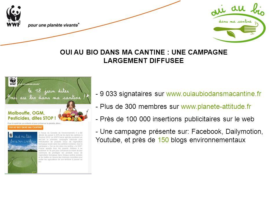 OUI AU BIO DANS MA CANTINE : UNE CAMPAGNE LARGEMENT DIFFUSEE - 9 033 signataires sur www.ouiaubiodansmacantine.fr - Plus de 300 membres sur www.planet