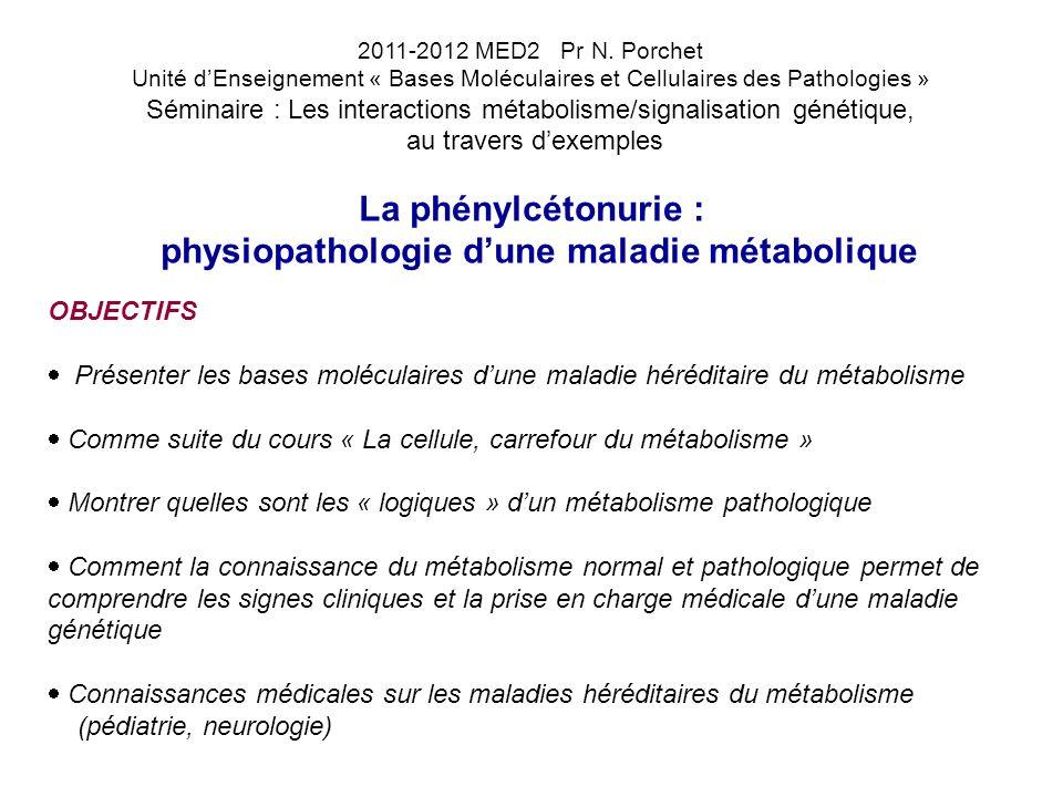 La phénylcétonurie : physiopathologie dune maladie métabolique I- DEFINITIONS ET GENERALITES : Phénylcétonurie (PCU ou dans la bibliographie PKU, phenylketonuria) = phénylcétone dans lurine Maladie génétique : maladie héréditaire du métabolisme (autre terme, plus ancien : « erreur innée du métabolisme ») affectant le métabolisme des acides aminés aromatiques : aminoacidopathie caractérisée par une hyperphénylalaninémie (= de la concentration de phénylalanine dans le sang) lexposition du cerveau dès la naissance à un excès de phénylalanine prolongé provoque chez lenfant un retard mental quelquefois profond et irréversible le dépistage biologique néonatal de la maladie et une prise en charge rapide des enfants dépistés empêchent les lésions irréversibles du cerveau et permettent des conditions de vie quasi-normales