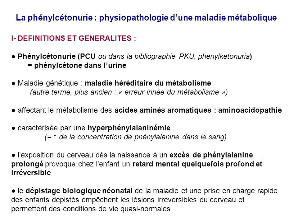 La phénylcétonurie : physiopathologie dune maladie métabolique 6- conséquences métaboliques pour lorganisme du défaut de catabolisme hépatique de la phénylalanine dans la Phénylcétonurie C/ dues à la carence en tryptophane La carence en tryptophane peut résulter dune compétition au niveau du transport des AA neutres par la phénylalanine en excès transporteur LAT1 des AA neutres Val, Leu, Ile, Thr, His, Trp, Phe Le tryptophane est le précurseur de 3 types de produits spécialisés: 1/ les nicotinamide-adénine dinucléotides (NAD +, NADP + ) 2/ la sérotonine = molécule active dans la neurotransmission et la vasoconstriction 3/ la mélanotonine = molécule qui intervient dans le rythme circadien Dans la PCU non traitée, la carence en tryptophane contribue aux lésions neurologiques par défaut de synthèse des neurotransmetteurs
