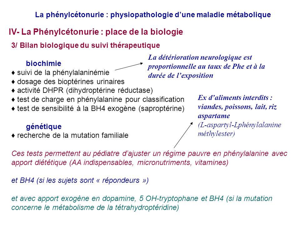 3/ Bilan biologique du suivi thérapeutique biochimie suivi de la phénylalaninémie dosage des bioptérines urinaires activité DHPR (dihydroptérine réductase) test de charge en phénylalanine pour classification test de sensibilité à la BH4 exogène (saproptérine) génétique recherche de la mutation familiale Ces tests permettent au pédiatre dajuster un régime pauvre en phénylalanine avec apport diététique (AA indispensables, micronutriments, vitamines) et BH4 (si les sujets sont « répondeurs ») et avec apport exogène en dopamine, 5 OH-tryptophane et BH4 (si la mutation concerne le métabolisme de la tétrahydroptéridine) Ex daliments interdits : viandes, poissons, lait, riz aspartame (L-aspartyl-Lphénylalanine méthylester) La phénylcétonurie : physiopathologie dune maladie métabolique IV- La Phénylcétonurie : place de la biologie La détérioration neurologique est proportionnelle au taux de Phe et à la durée de lexposition