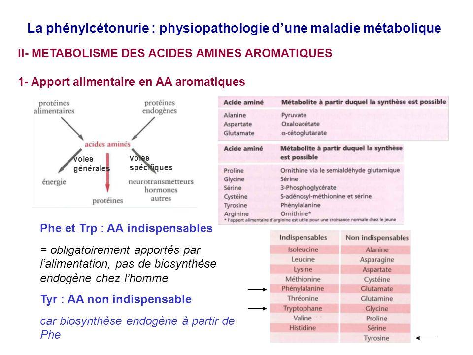 La phénylcétonurie : physiopathologie dune maladie métabolique III- La Phénylcétonurie : bases moléculaires de la physiopathologie A/ GENERALITES maladie génétique autosomique (chromosome 12) récessive prévalence 1/4000 à 1/40 000 (France 1/17 000), 50 nouveaux cas par an (France) aminoacidopathie par 1/accumulation toxique de Phe dans le plasma et le cerveau et par 2/ carence relative en neurotransmetteurs responsables sans traitement dun retard mental et de troubles neurologiques irréversibles maladie connue depuis 1934 et qui fait lobjet dun dépistage néonatal systématique généralisé en France depuis 1976 B/ CAUSES MOLECULAIRES DE LHYPERPHENYLALANINEMIE Perte de fonction de lenzyme phénylalanine hydroxylase (PAH) 1/ mutations inactivatrices de son gène (PAH) dans 98% des cas de PCU >700 mutations connues affectent principalement soit le domaine régulateur (expression du gène) soit le domaine catalytique (liaison au substrat, liaison au cofacteur BH4)