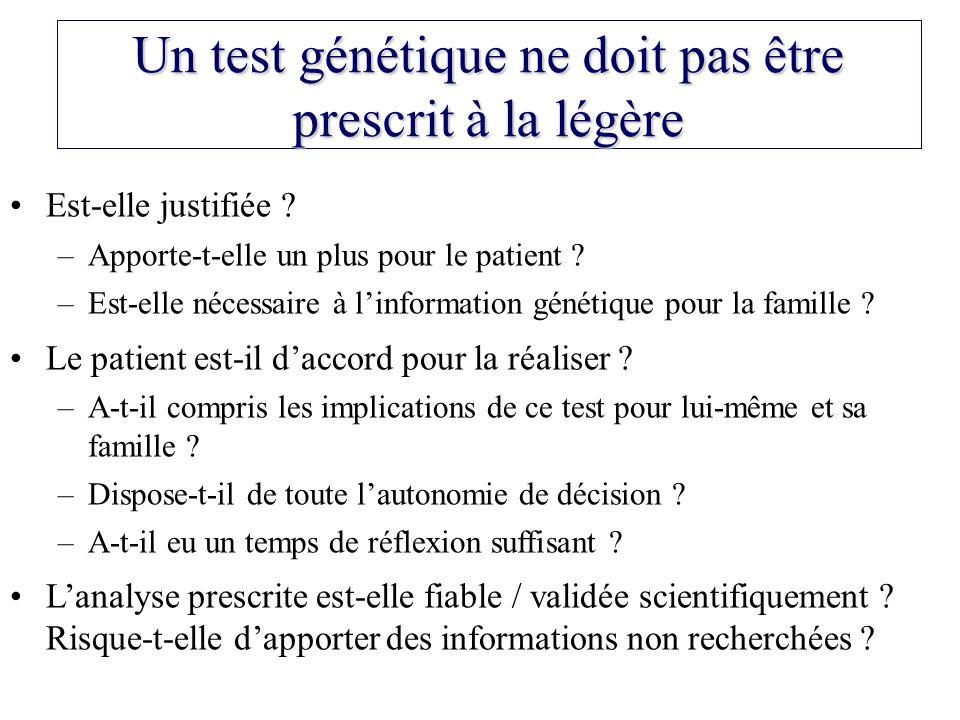 Un test génétique ne doit pas être prescrit à la légère Est-elle justifiée ? –Apporte-t-elle un plus pour le patient ? –Est-elle nécessaire à linforma